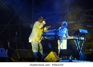 BUDAPEST, HUNGARY - AUGUST 10: Faithless perform at the annual Sziget music festival on August 10, 2004 in Budapest, Hungary. From left, Maxi Jazz and sister Bliss.