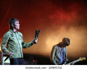 BUDAPEST, HUNGARY, AUGUST 10:  Ian Brown and the Stone Roses play live in concert at the annual Sziget Music Festival on August 10, 2012 in Budapest, Germany