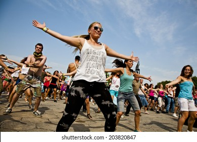 Budapest, Hungary - August 10th 2010: People dancing during a flash mob event at Sziget Festival
