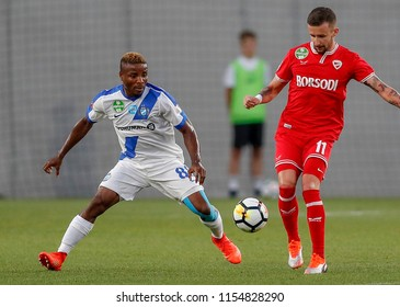 BUDAPEST, HUNGARY - AUGUST 11, 2018: (l-r) Patrick Ikenne King fights for the ball with Richard Vernes during MTK Budapest v DVTK match at Nandor Hidegkuti Stadium.