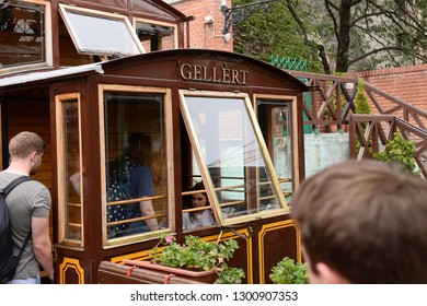 Budapest, Hungary - AUGUST 13, 2017: City panorama - Gellert train