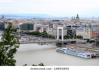 Budapest, Hungary - AUGUST 13, 2017: City panorama - bridge