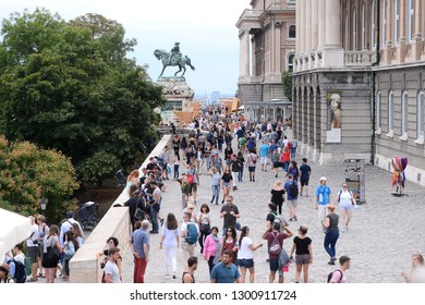 Budapest, Hungary - AUGUST 13, 2017: City panorama - tourists