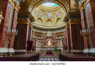 Budapest, Hungary - August 13 2018: Interior of St. Stephen's Basilica Cathedral in the city center of Budapest in Hungary