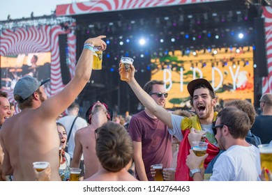 BUDAPEST, HUNGARY - AUGUST 15, 2017 : Unknown girls and guys is a participants of music festival Sziget. Sziget Festival, the Island of Freedom, has ended with the total number of 452.000 Citizens