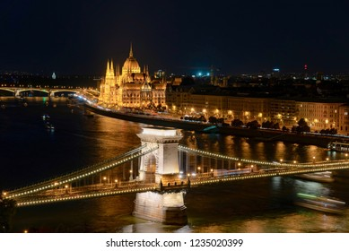 Budapest, Hungary - August 15 2018:night panorama of the city of Budapest with a view of the Chain and Parliament bridge