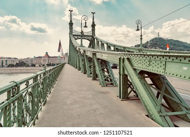Budapest, Hungary - August 16 2018:bridges over the Danube river in the city of Budapest in Hungary