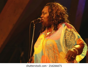 BUDAPEST, HUNGARY - AUGUST 17, 2014: American gospel, soul and blues singer Sharrie Williams performs on Sziget festival