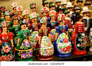 Budapest, HUNGARY - AUGUST 17, 2018: Dolls dressed in traditional Hungarian costumes. Budapest store showroom. Hungarian souvenirs