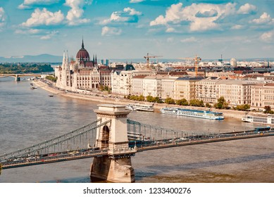 Budapest, Hungary - August 17 2018: panoramic view on the city of Budapest in Hungary