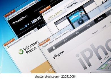 Budapest, Hungary - August 18, 2011: Selection of smartphone company websites. Including: Blackberry, Windows Phone, Android and Iphone.
