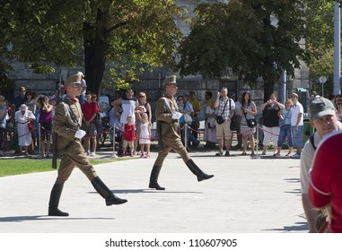 BUDAPEST, HUNGARY - AUGUST 20: Unidentified people watching the changing of guards on the annual constitution day of Hungary on August 20, 2012 in Budapest, Hungary.