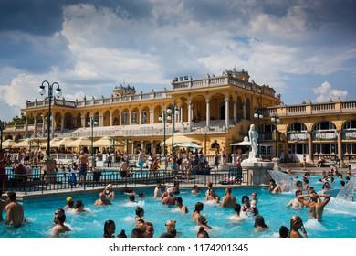 BUDAPEST, HUNGARY - AUGUST, 2018: Szechenyi Baths in Budapest, Hungary.