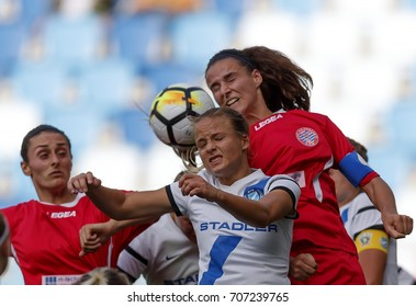 BUDAPEST, HUNGARY - AUGUST 22, 2017: Diana Csanyi (L2) of MTK competes with Feride Kastrati and Zelfie Bajramaj (R) of Hajvalia during MTK Hungaria FC v WFC Hajvalia UEFA CL match at Hidegkuti Stadium