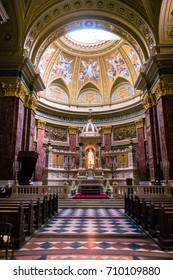 BUDAPEST, HUNGARY - AUGUST 22, 2017: Interior of St. Stephen's Basilica  in Budapest, Hungary. The Basilica is named in honor of Stephen - first King of Hungary. Low light image