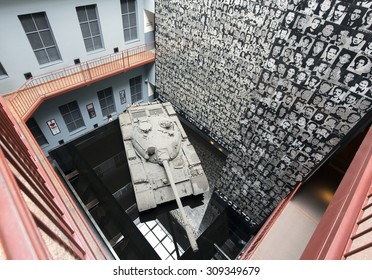 BUDAPEST, HUNGARY - AUGUST 23, 2015: Interior of the House of Terror Museum.  The museum opened 13 years ago  to present the bloody periods of Hungarian history.