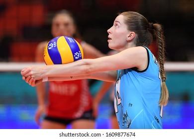 BUDAPEST, HUNGARY – August 23, 2019: Krystsina Yagubova receives the ball, at the Croatia(red) – Azerbaijan (blue) 2019 CEV Volleyball European Championship's women volleyball game.