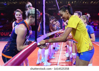 BUDAPEST, HUNGARY – August 23, 2019: Players greets each other before the Netherlads (blue) – Romania (yellow) 2019 CEV Volleyball European Championship's women volleyball game.