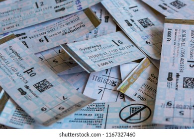 Budapest, Hungary - August 29, 2018: Set of used tickets for mass transit public transport in Europe, Budapest.