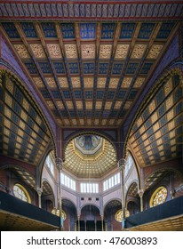 BUDAPEST, HUNGARY - AUGUST 30, 2016: Interior of Rumbach street Synagogue built in 1872 by Otto Wagner. It will be rebuild as jewish museum.