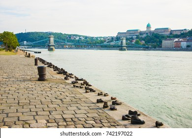 Budapest, Hungary - August 31, 2012: Holocaust Memorial, Buda Castle and Chain Bridge over the Danube River in Budapest, Hungary