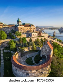 Budapest, Hungary - Beautiful Buda Castle Royal Palace and South Rondella with Szechenyi Chain Bridge and Parliament at sunrise