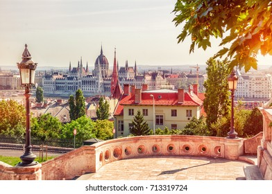Budapest, Hungary.  Beautiful panoramic view from the Fishermen Bastion at the Hungarian Parliament Building. Image filtered with cross processed.