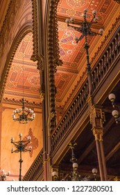 Budapest, Hungary - Ceiling and interior architecture in the Dohány Street Synagogue, largest synagogue in Europe and the second largest in the world.