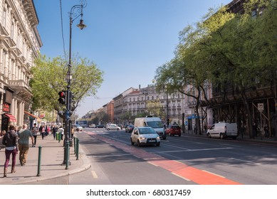 Budapest, Hungary- CIRCA April, 2016: Andrassy boulevard in downtown Budapest
