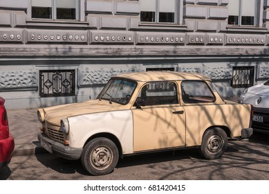 Budapest, Hungary- CIRCA April, 2016: Old trabant in front of Terror museum in Budapest