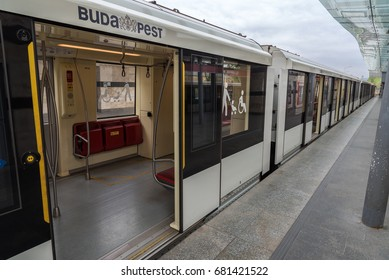 Budapest, Hungary- CIRCA April, 2016: Train on metro station in Budapest