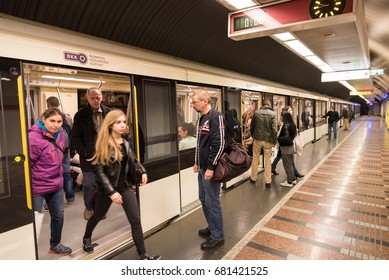 Budapest, Hungary- CIRCA April, 2016: Passengers get out from train on metro station in Budapest