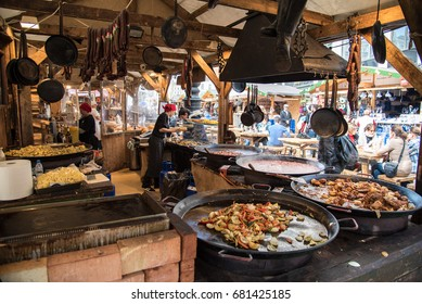 Budapest, Hungary- CIRCA April, 2016: Food stalls in Budapest during Easter holidays