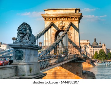 BUDAPEST, HUNGARY - CIRCA JUNE 2019: View on the famous Chain Bridge crossing the river Danube circa June 2019 in Budapest, Hungary.