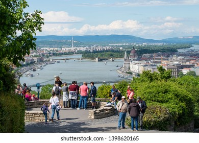 Budapest - Hungary. Circa May,2019: People standing at a lookout point at famous Citadel in Budapest, Hungary.