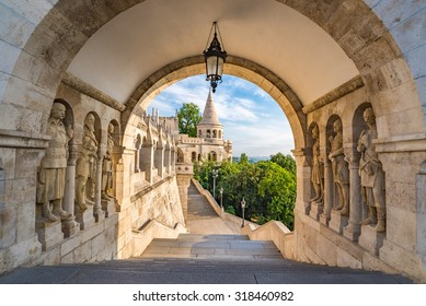 Budapest Hungary, city skyline at Fisherman Bastion Gate