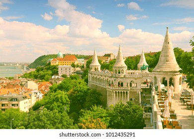 Budapest, Hungary - cityscape with Danube river and Fisherman's Bastion.
