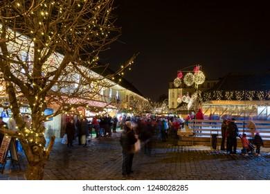 Budapest Hungary Dec 1 2018: Christmas fair on the Szentlelek square in Obuda in Budapest.