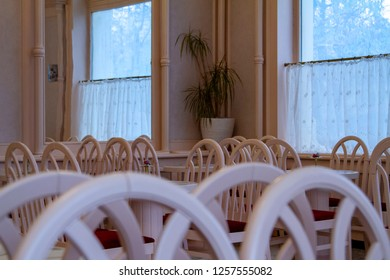 Budapest Hungary Dec 6 2018:Luxurious coffee shop with tables and chairs in the classic interior.