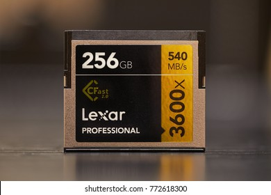 BUDAPEST, HUNGARY - DECEMBER 10, 2017: 256GB CFast 2.0 memory card for professional video recording