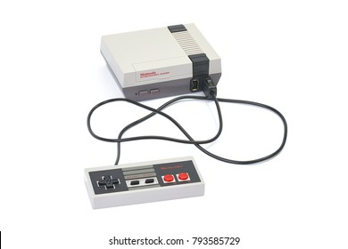 BUDAPEST, HUNGARY - DECEMBER 10, 2017: Nintendo NES classic edition video game console. Modernized version of the original with preinstalled games