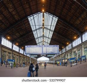 Budapest, Hungary, December 11, 2016: Platform of Western Railway Station (Nyugati palyaudvar).