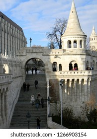 Budapest, Hungary - December 12 2018: Tourists descending the stairs of Fishermen's Bastion on a cold December day