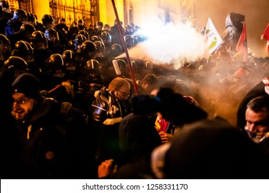 Budapest, Hungary - December 13, 2018: Hungary's 'slave law' protests in Budapest, Hungary