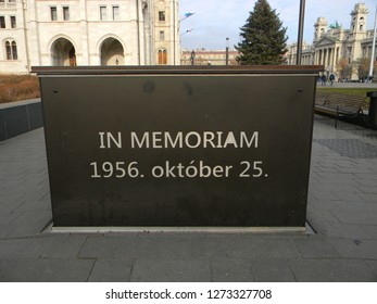 Budapest, Hungary - December 14 2018: Memorial to the Hungarian anticommunist revolution of October 1956, near the Hungarian Parliament