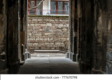 BUDAPEST, HUNGARY. December 17, 2017. Ruins of the Jewish ghetto wall in central Budapest. This wall surrounded the Jewish quarter during the Holocaust events. International Holocaust Remembrance Day