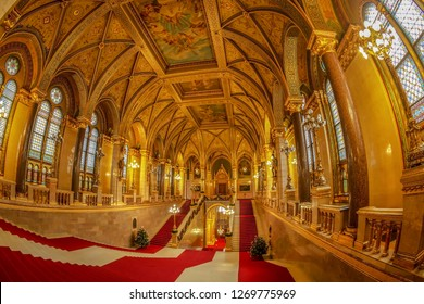 Budapest, Hungary - December 19, 2018: The lavish Grand Staircase of the Hungarian Parliament.