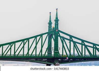 BUDAPEST, HUNGARY - DECEMBER 19, 2018: View from Pesta shore of Liberty Bridge over Danube river. Was built between 1894 and 1896 with the plans of J. Fekete Hazy in art nouveau style.