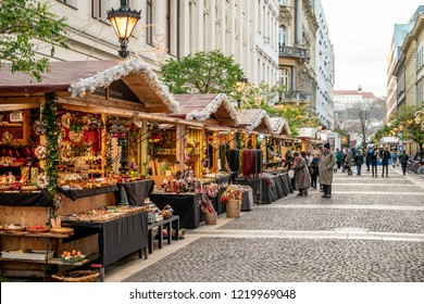 Budapest, Hungary - December 2017: Christmas market in front of St Stephen Basilica