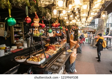 Budapest, Hungary - December 2017: Hungarian street food at the Budapest Christmas market in Vorosmarty square